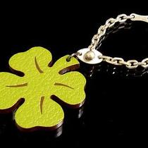 100% Authentic Hermes Four Leaf Clover Motif Key Chain Bag Charm Silver 925 C664 Photo