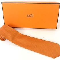 100% Authentic Hermes Neck Tie 100% Silk Striped With Clover Pattern Orange C879 Photo