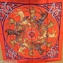 100% Authentic Hermes Silk Scarf La Ronde Des Jockeys Equestrian Red New Box Photo