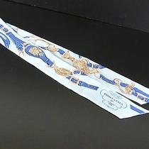 100% Authentic Hermes Twilly Scarf 100% Silk Belt Pattern Blue A815 Photo