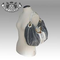 100% Authentic Juicy Couture Grey Velour Hobo Style Bag Photo
