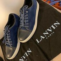 100% Authentic Lanvin Men's Lanvin Blue Suede Cap Toe Sneakers Sz Us 12 / Uk 11 Photo