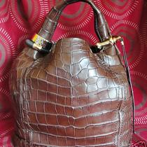 100% Authentic Large Jimmy Choo Saba Hobo Bag Crocodile Print in Very Good Uc Photo