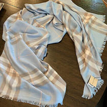 100% Authentic Lightweight Cashmere Burberry  Blue Scarf Large (26x72 Inches) Photo