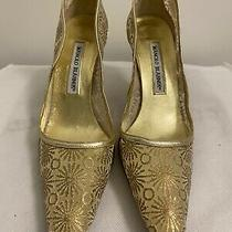 100% Authentic Manolo Blahnik Classic Gold  Heels Size 37 Photo