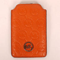 100% Authentic Michael Kors Wallet Iphone Case Mongram Embossed Tangerine Photo