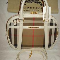 100% Authentic New Burberry Haymarket White Small Satchel Bag/handbag Photo