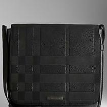 100% Authentic New Burberry London Ralley Black Check Embossed Messenger Bag Photo