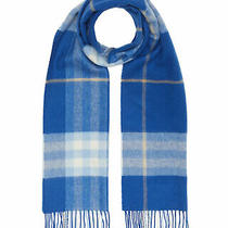 100% Authentic New Men Burberry Baby Blue Giant Check Icon Cashmere Scarf  Photo