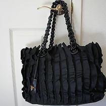 100% Authentic New Prada Black Microfiber Ruffle Handbag Tote Photo
