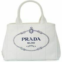 100% Authentic New Prada Denim Small White Canapa Tote Canvas Satchel Bag Photo