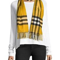 100% Authentic New Women Burberry Amber Yellow Giant Check Cashmere Scarf  Photo