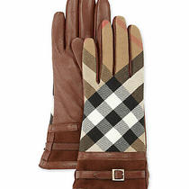 100% Authentic New Women Burberry Bridle House Check Nicola Check Gloves Us 6.5 Photo