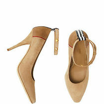 100% Authentic New Women Burberry Kiton Abicy Beige Suede Heels/pumps Us 9 Photo