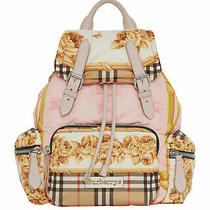 100% Authentic New Women Burberry Silk Printed Medium Rucksack Backpack/bag Photo