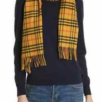 100% Authentic New Women Burberry Vintage Vibrant Yellow Check Cashmere Scarf  Photo
