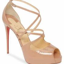 100% Authentic New Women Louboutin Holly Alta 120 Nude Patent Heels/pump Us 10 Photo