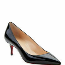 100% Authentic New Women Louboutin Kate 55 Black Patent Pumps/heels Us 8 Photo