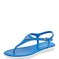 100% Authentic New Women Prada Blue Patent Thong Sandal Flip Flop Us 7 Photo