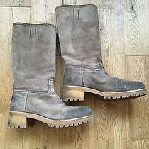 100% Authentic Prada Ladies Grey Suede Gum Sole Boots 39.5 Mid-Calf Great Photo