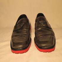 100% Authentic Prada Men Leather Logo Loafers Restored Size 8.5 Grey (Asphalt)  Photo