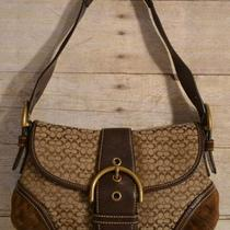 100% Authentic Soho Signature c's Hobo Handbag With Brown Leather Trim Photo