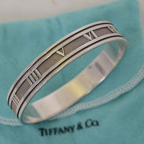 100% Authentic tiffany&co. Silver 925 Atlas Bangle Cuff Bracelet Photo