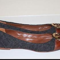 100% Authentic Tory Burch Parker Gray Quilted Brown Leather Cap Flats Size 9 Photo