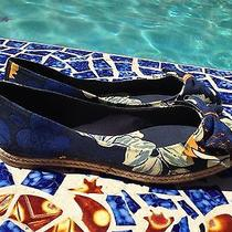 100% Authentic Tory Burch Tasmin Canvas Bow Flats Espadrilles Size 9 New Photo