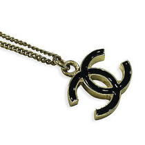 100% Authentic Used Chanel Gold/black Metal Cc Logo Necklace Photo