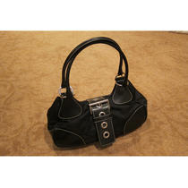 100% Authentic Used Prada Black Nylon & Leather Handbag Purse Bag Photo