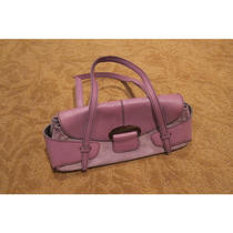 100% Authentic Used Tod's Purple Suede & Leather Handbag Purse Photo