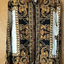 100% Authentic Versace Camicia Tessuto Silk Shirt Animal Print Size 40 Photo