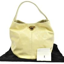 100% Authentic Yves Saint Laurent Sac Capri Hand Tote Bag Cream Patent R08291a Photo