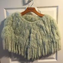 100 Bebe Mint Rabbit Fur Fringe Poncho Capelet-Gorgeous Photo
