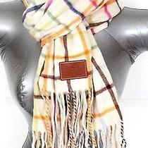 100% Cashmere Ivory Coach Scarf Tattersall Check 69 X 12 Multicolor Woman Photo