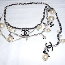 100% Coco Chanel Pearl and White Gold Tone Metal Chain Belt 32
