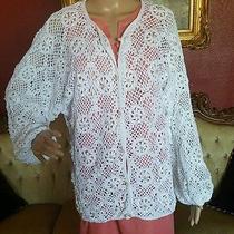 100% Cotton Jon Christy Hand Crocheted Pearl Beaded Cardi Sz Lg White Exquisite  Photo