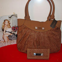 100% Guess  Sring Logo Handbag  With Wallet  (Brown )    Photo
