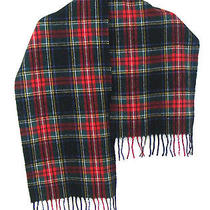 100% Lambs Wool Unisex Long Scarf Tartan Plaid  Italy Roundtree & Yorke Euc  Photo