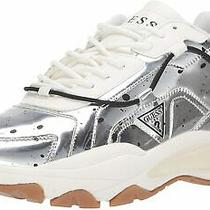 100 New Guess Mens Fibtan Sneakers White Silver Lace Up Shoes Size 10.5 M  Photo