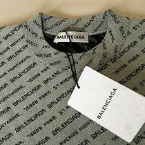 100% Original Balenciaga 750 All Over Jacquard Logo Jumper Sweater 34 Sliver  Photo