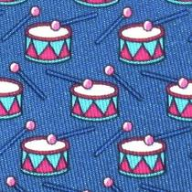 100% Real Hermes Tie  Blue W/ Fun Aqua & Pink Christmas Drum & Drum Stick Xl Photo