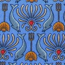 100% Real Hermes Tie  Blue W Fun Gray Dolphins Yellow Shells & Red Tridents Photo
