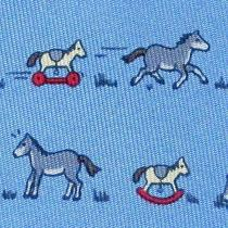 100% Real Hermes Tie  Blue W/ Whimsical Rocking Horses Scaring Real Horses Xl Photo