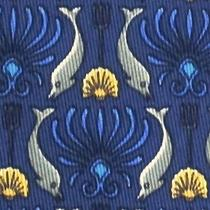 100% Real Hermes Tie  Blue W Whimsical Silver Dolphins Yellow Shells Trident Photo