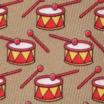 100% Real Hermes Tie  Bronze W Fun Red & Yellow Christmas Drum & Drum Sticks Photo
