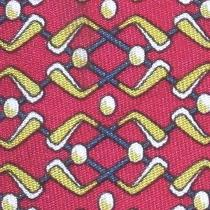 100% Real Hermes Tie  Dark Red W/ Whimsical Gold Blue & White Golf Clubs Photo