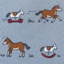 100% Real Hermes Tie  Gray W/ Whimsical Rocking Horses Scaring Real Horses Xl Photo
