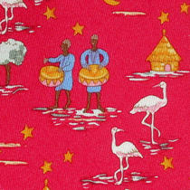 100% Real Hermes Tie  Red Whimsical Caribbean Island Drummer Drum Tree Moon Xl Photo